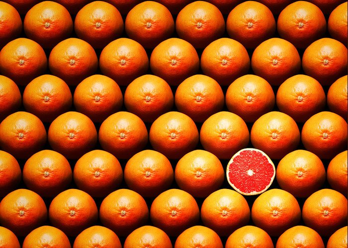 Grapefruit Greeting Card featuring the photograph Grapefruit Slice Between Group by Johan Swanepoel