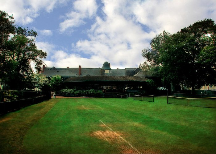 Tennis Court Greeting Card featuring the photograph Grass Courts At The Hall Of Fame by Michelle Calkins