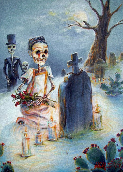 Skeletons Greeting Card featuring the painting Grave Sight by Heather Calderon