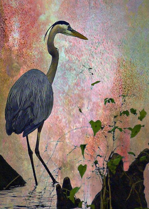 J Larry Walker Greeting Card featuring the digital art Great Blue Heron Among Cypress Knees by J Larry Walker
