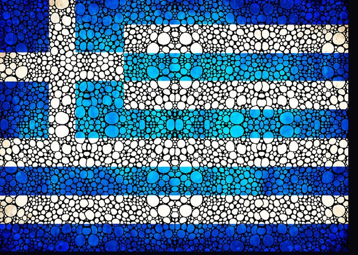 Greek Flag Greeting Card featuring the painting Greek Flag - Greece Stone Rock'd Art By Sharon Cummings by Sharon Cummings
