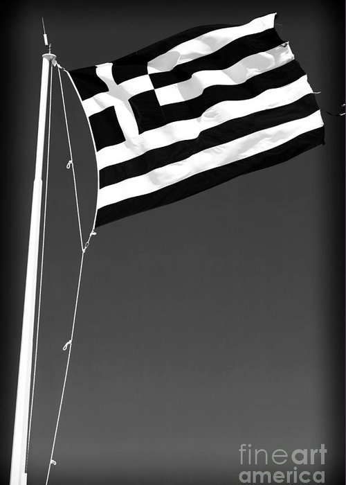 Greek Flag Greeting Card featuring the photograph Greek Flag by John Rizzuto