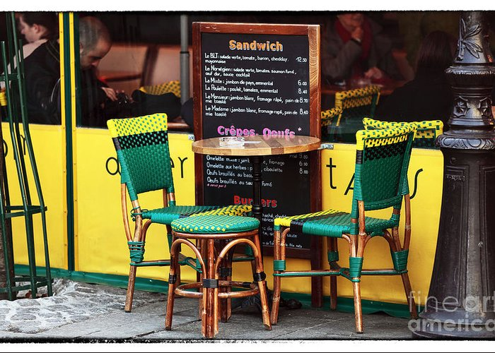 Green And Yellow In Paris Greeting Card featuring the photograph Green And Yellow In Paris by John Rizzuto