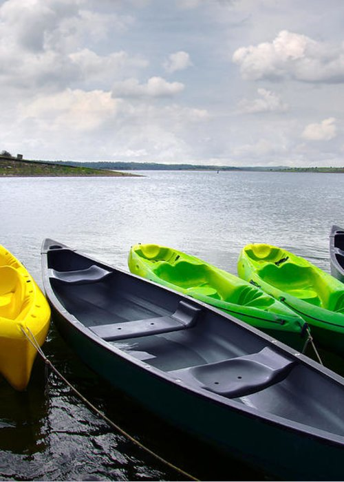 Activity Greeting Card featuring the photograph Green And Yellow Kayaks by Carlos Caetano