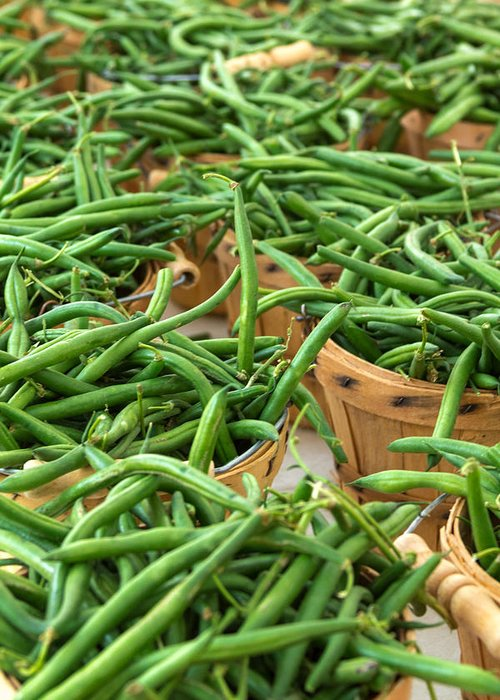 Baskets Greeting Card featuring the photograph Green Beans In Baskets At Farmers Market by Teri Virbickis