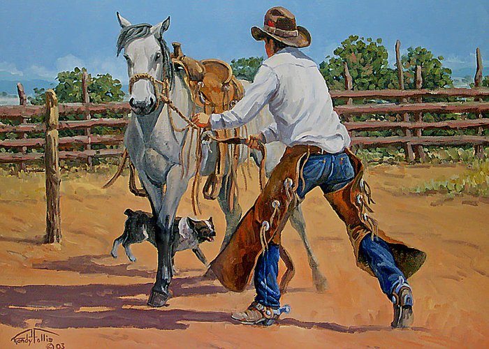 Cowboy Greeting Card featuring the painting Green Broke Grey by Randy Follis