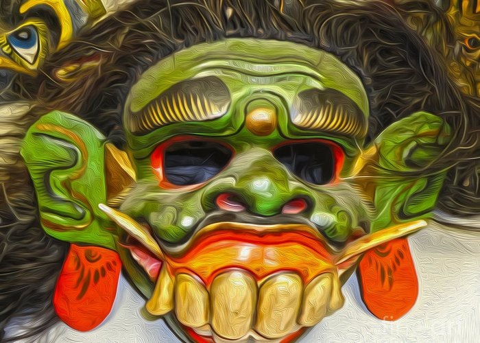 Green Mask Greeting Card featuring the photograph Green Mask by Gregory Dyer