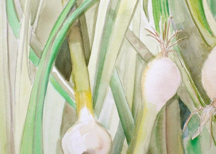 Green Onions Greeting Card featuring the painting Green Onions by Debi Starr