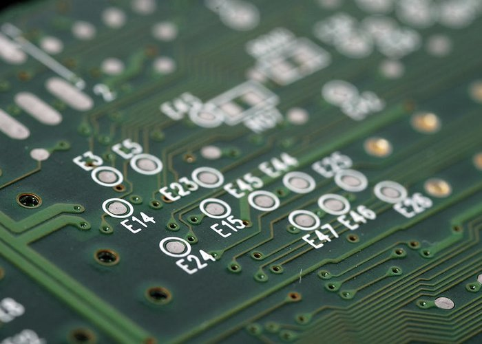 Board Greeting Card featuring the photograph Green Printed Circuit Board Closeup by Matthias Hauser