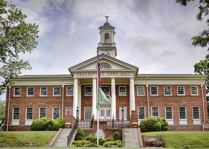Greeneville Greeting Card featuring the photograph Greeneville Town Hall by Heather Applegate