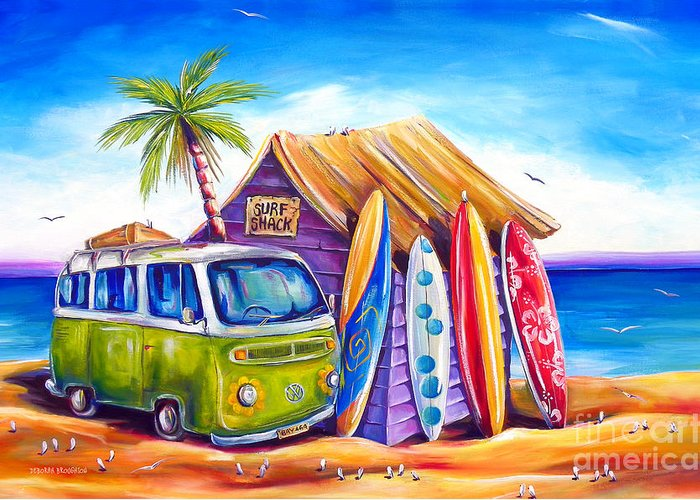 Kombi Greeting Card featuring the painting Greenie by Deb Broughton