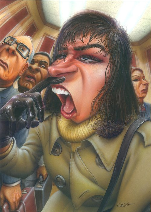 Greeting Card Greeting Card featuring the painting Greeting Card Flu Season Woman About To Sneeze by Walt Curlee