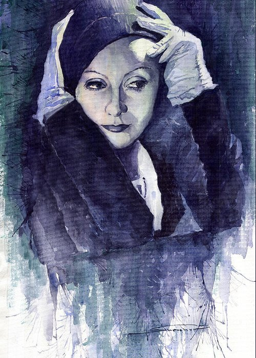 Watercolour Greeting Card featuring the painting Greta Garbo by Yuriy Shevchuk