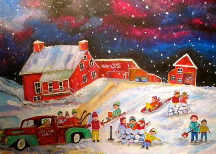 Winter Memories Greeting Card featuring the painting Grey Fox Farm Winter by Michael Litvack
