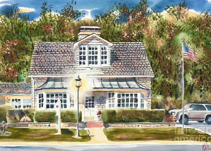 Greystone Inn Ii Greeting Card featuring the painting Greystone Inn II by Kip DeVore