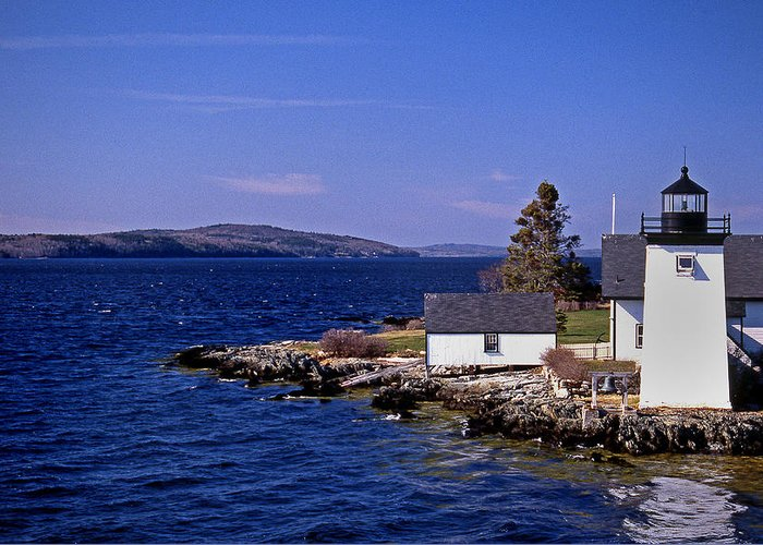 Grindel Point Greeting Card featuring the photograph Grindel Point Lighthouse by Skip Willits