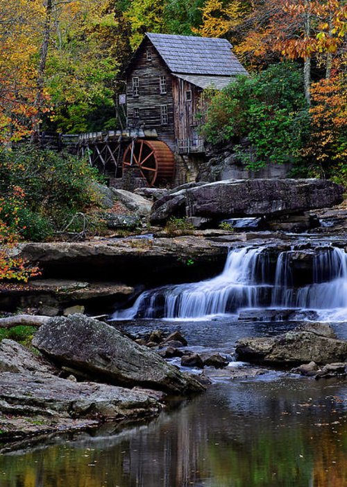 Trees Greeting Card featuring the photograph Grist Mill Falls by Lone Dakota Photography