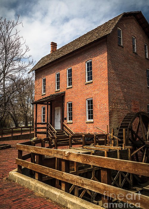 1800's Greeting Card featuring the photograph Grist Mill In Hobart Indiana by Paul Velgos