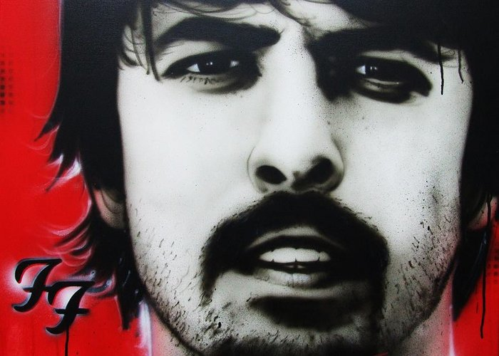 Dave Grohl Greeting Card featuring the painting 'grohl' by Christian Chapman Art