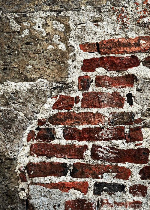 Wall Greeting Card featuring the photograph Grunge Brick Wall by Elena Elisseeva