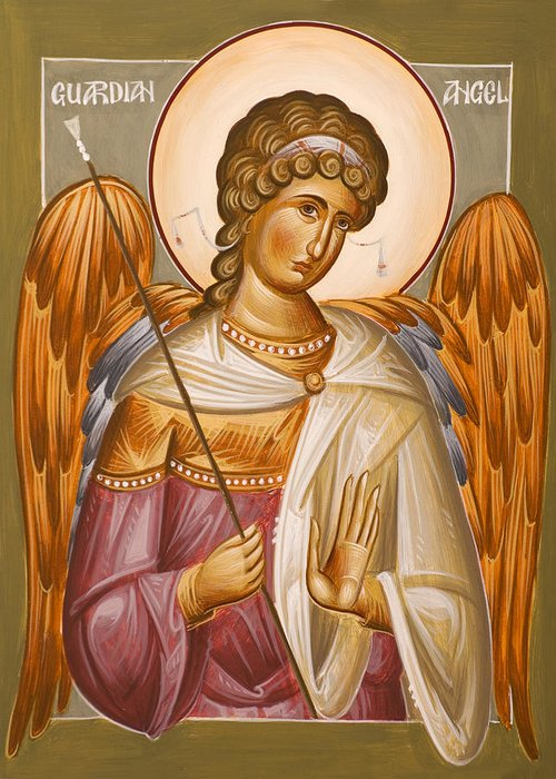 Guardian Angel Greeting Card featuring the painting Guardian Angel by Julia Bridget Hayes