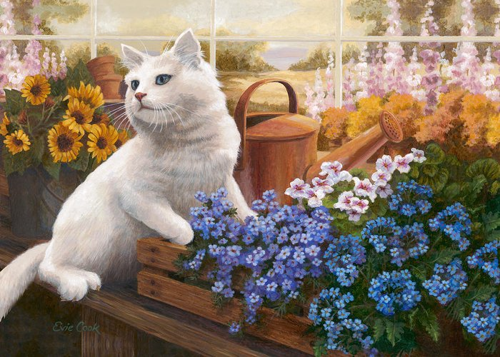 Cat Greeting Card featuring the painting Guardian Of The Greenhouse by Evie Cook