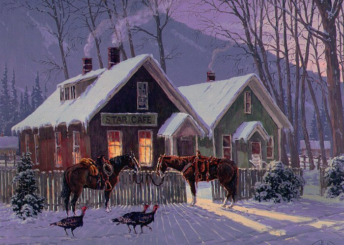 Horse Greeting Card featuring the painting Guest For Dinner by Randy Follis