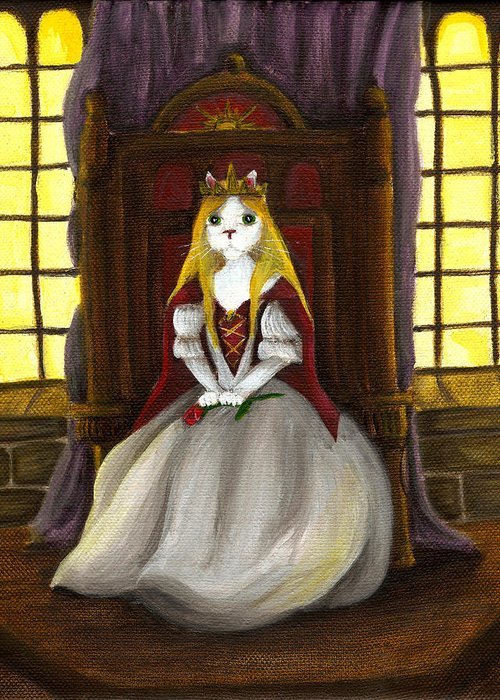 Cat Art Greeting Card featuring the painting Guinefurre Cat Queen by Tara Fly