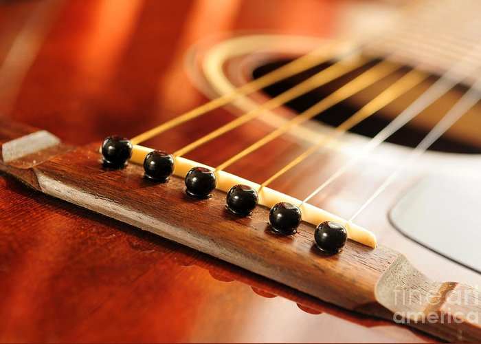 Guitar Greeting Card featuring the photograph Guitar Bridge by Elena Elisseeva