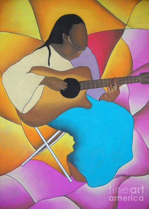 African American Art Greeting Card featuring the drawing Guitar Player by Sonya Walker