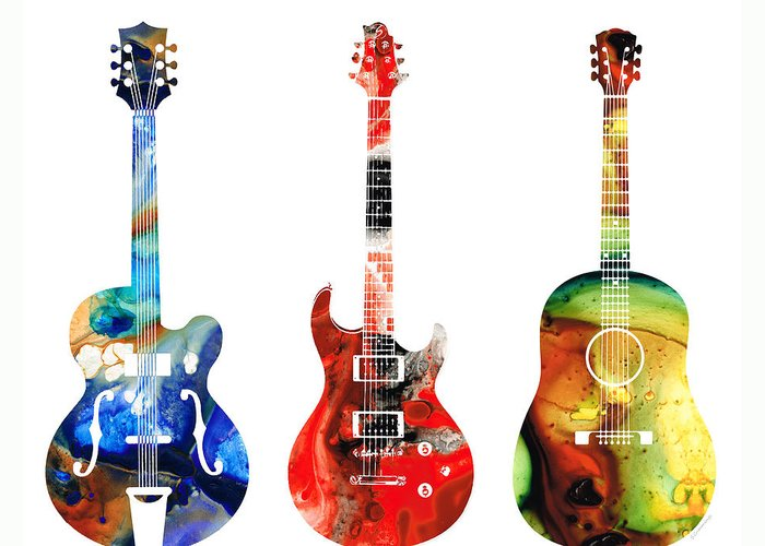Guitar Greeting Card featuring the painting Guitar Threesome - Colorful Guitars By Sharon Cummings by Sharon Cummings