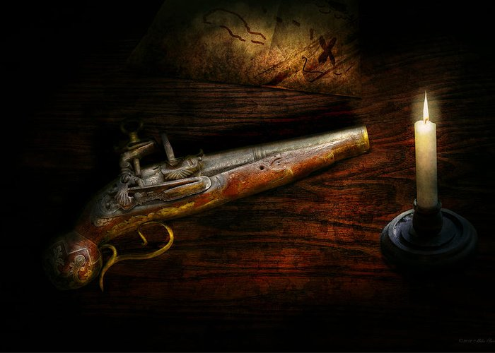 Police Greeting Card featuring the photograph Gun - Pistol - Romance Of Pirateering by Mike Savad