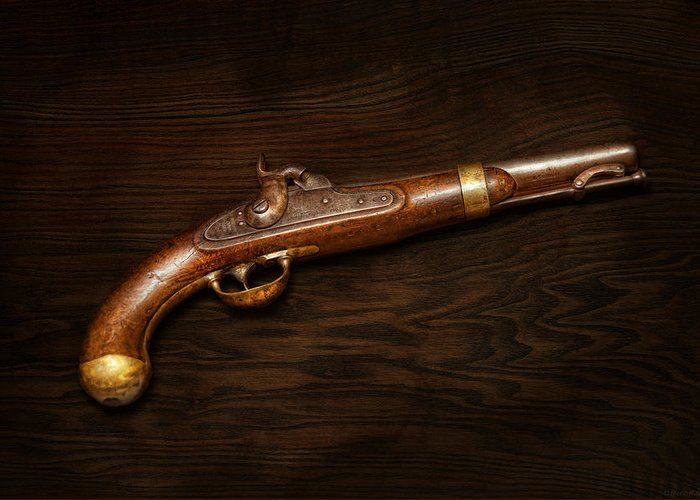 Gun Greeting Card featuring the photograph Gun - Us Pistol Model 1842 by Mike Savad