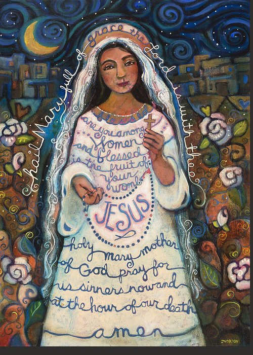 Jen Norton Greeting Card featuring the painting Hail Mary by Jen Norton