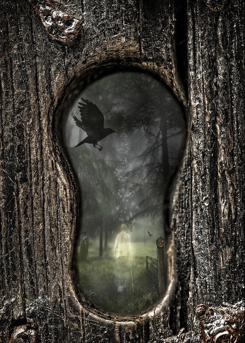 Ghostly Greeting Card featuring the photograph Halloween Keyhole by Amanda Elwell
