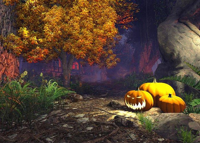 Halloween Greeting Card featuring the digital art Halloween Pumpkins by Marina Likholat