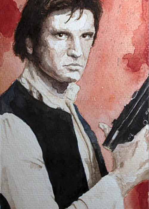 Star Wars Greeting Card featuring the painting Han Solo by David Kraig