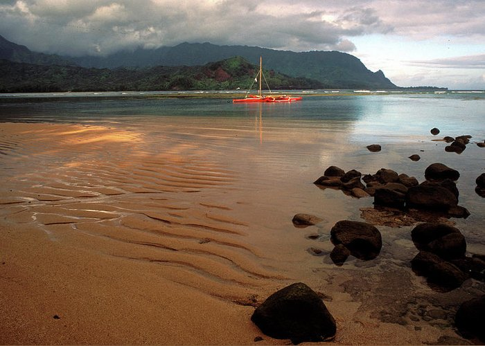 Kauai Photos Greeting Card featuring the photograph Hanalei Bay At Dawn by Kathy Yates