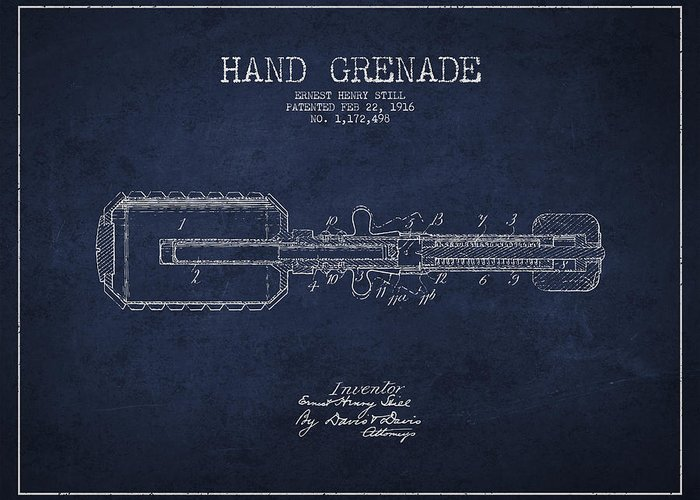 Grenade Greeting Card featuring the drawing Hand Grenade Patent Drawing From 1916 by Aged Pixel