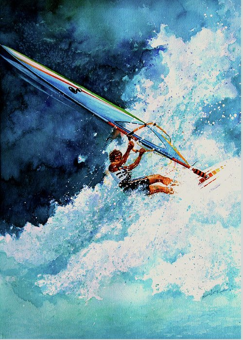 Sports Art Greeting Card featuring the painting Hang Ten by Hanne Lore Koehler