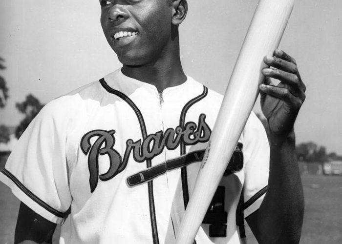 Hank Greeting Card featuring the photograph Hank Aaron Poster by Gianfranco Weiss