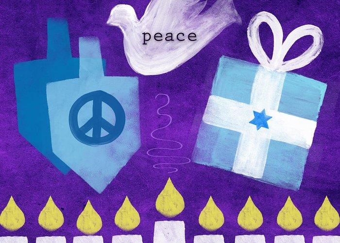 Hanukkah Greeting Card featuring the mixed media Hanukkah Peace by Linda Woods