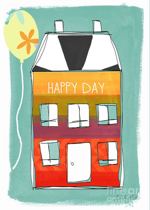 Birthday Greeting Card featuring the mixed media Happy Day Card by Linda Woods