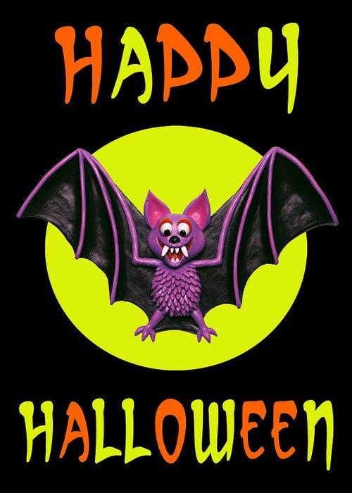 Greeting Card featuring the digital art Happy Halloween Bat by Amy Vangsgard