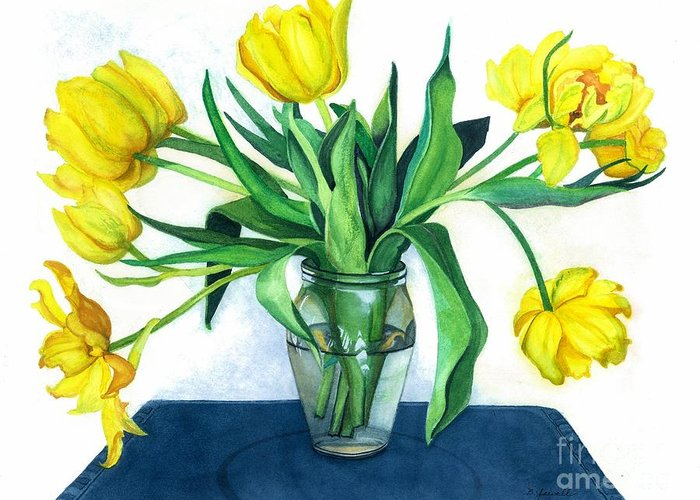 Flowers Greeting Card featuring the painting Happy Spring by Barbara Jewell