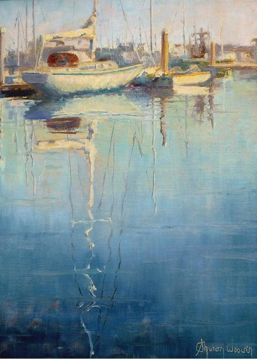 Monterey Harbor Greeting Card featuring the painting Harbor Reflection by Sharon Weaver
