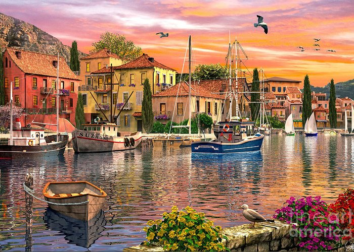 Harbour Greeting Card featuring the digital art Harbour Sunset by Dominic Davison