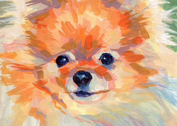 Pomeranian Greeting Card featuring the painting Hardley A Hadley by Kimberly Santini
