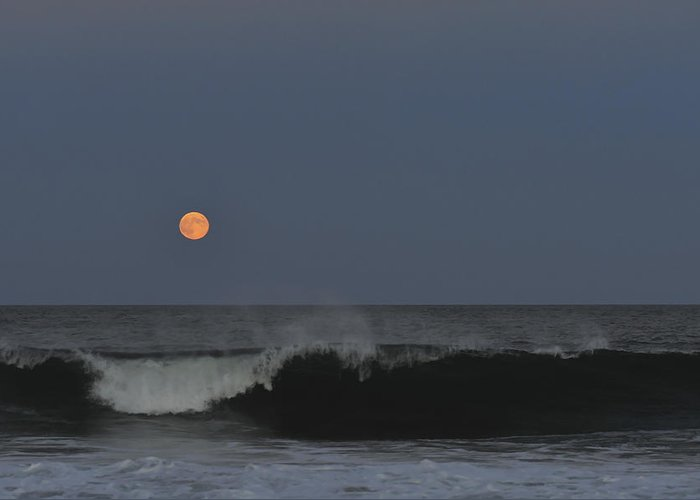 Harvest Moon Greeting Card featuring the photograph Harvest Moon Seaside Park Nj by Terry DeLuco