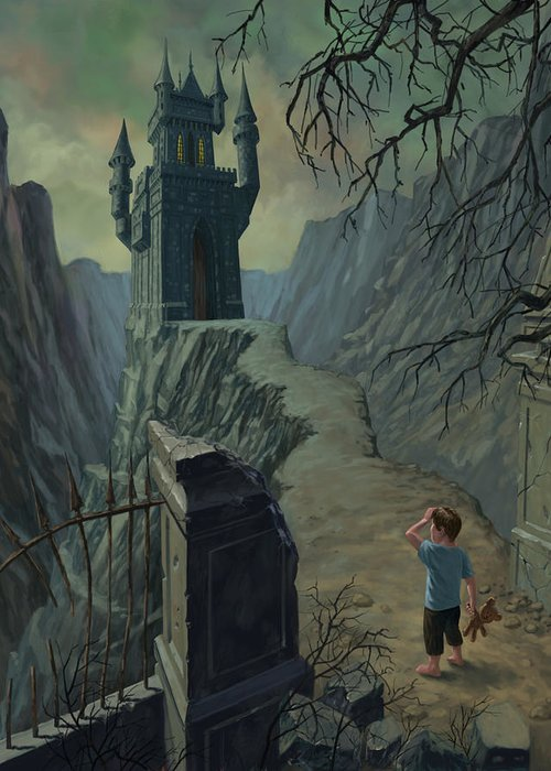 Castle Greeting Card featuring the painting Haunted Castle Nightmare by Martin Davey